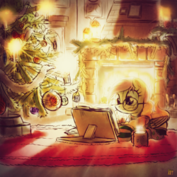 Size: 2600x2600 | Tagged: safe, artist:ruhisu, oc, oc only, pegasus, pony, book, christmas, christmas tree, clothes, coffee, fireplace, glasses, sketch, solo, sweater, tree