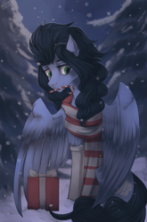 Size: 2193x3327 | Tagged: safe, artist:orfartina, oc, oc only, oc:justly sky, pegasus, pony, candy, candy cane, clothes, female, food, mare, present, scarf, snow, solo