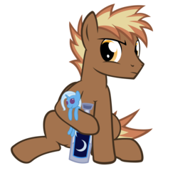 Size: 2600x2600 | Tagged: safe, artist:joey, artist:the smiling pony, trixie, oc, oc only, oc:firebrand, pegasus, pony, 2017 community collab, derpibooru community collaboration, alcohol, bottle, crescent moon, frown, glare, hoof hold, looking at you, moon, moonshine, plushie, raised eyebrow, simple background, sitting, solo, transparent background