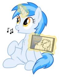 Size: 4609x6001 | Tagged: safe, artist:djdavid98, artist:pirill, artist:zutheskunk, oc, oc only, oc:penny curve, pony, 2017 community collab, derpibooru community collaboration, mlp vector club, absurd resolution, chest fluff, fluffy, levitation, looking up, magic, music notes, open mouth, simple background, sitting, smiling, solo, tablet, telekinesis, transparent background, vector, whistling