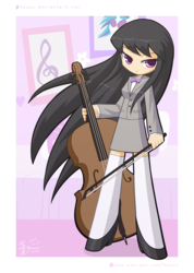Size: 1200x1688 | Tagged: safe, artist:howxu, dj pon-3, octavia melody, vinyl scratch, human, bow (instrument), bowtie, cello, cello bow, clothes, humanized, long hair, music notes, musical instrument, solo, zettai ryouiki