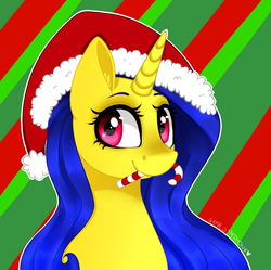 Size: 713x710 | Tagged: safe, artist:starsymphonystela, oc, oc only, candy, candy cane, christmas, food, hat, mouth hold, santa hat, solo