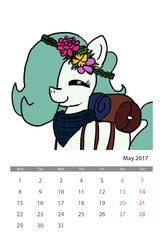 Size: 1600x2450 | Tagged: safe, artist:ficficponyfic, color edit, edit, edited edit, oc, oc only, oc:emerald jewel, earth pony, pony, colt quest, bag, bandana, calendar, color, colored, colt, crown, cute, excited, eyes closed, flower, flower in hair, foal, hair over one eye, happy, hnnng, jewelry, male, photofunia, regalia, smiling, solo, text, trap