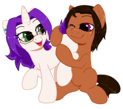 Size: 2042x1802 | Tagged: 2017 community collab, artist:kyokimute, butthug, derpibooru community collaboration, derpibooru exclusive, earth pony, glasses, heterochromia, hug, kyodio, oc, oc:dioponi, oc:kyoponi, oc only, plot, pony, safe, simple background, sitting, transparent background, unicorn