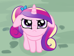 Size: 1024x768 | Tagged: angry, artist:kuromi, :c, cadance is not amused, cute, cutedance, floppy ears, frown, glare, looking at you, looking up, princess cadance, safe, sitting, solo, teen princess cadance, unamused, younger
