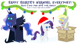 Size: 4961x2835 | Tagged: safe, artist:sketchmcreations, derpy hooves, princess luna, rarity, spirit of hearth's warming yet to come, pegasus, pony, absurd resolution, box, derpy star, female, hat, mare, merry christmas, pointy ponies, santa hat, simple background, transparent background