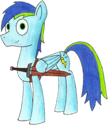 Size: 912x1060 | Tagged: safe, artist:yenchey, oc, oc only, oc:morning blast, pegasus, pony, 2017 community collab, derpibooru community collaboration, simple background, solo, sword, transparent background, weapon