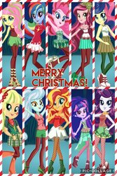Size: 1024x1536 | Tagged: safe, artist:gouhlsrule, applejack, bon bon, fluttershy, gloriosa daisy, lyra heartstrings, pinkie pie, rainbow dash, rarity, sunset shimmer, sweetie drops, twilight sparkle, equestria girls, boots, christmas, clothes, fishnets, hand on hip, high heel boots, high heels, holiday, humane five, humane seven, humane six, lipstick, looking at you, mane six, mary janes, merry christmas, pantyhose, pose, poses, shoes, shorts, skirt