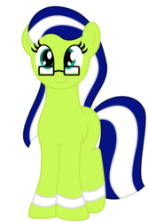 Size: 1344x2008 | Tagged: 2017 community collab, artist:poshpete117, derpibooru community collaboration, derpibooru exclusive, earth pony, female, glasses, looking at you, mare, ms paint, oc, oc:miles bright, oc only, pony, safe, simple background, solo, transparent background
