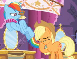 Size: 1057x809 | Tagged: safe, screencap, applejack, rainbow dash, earth pony, pegasus, pony, make new friends but keep discord, angry, annoyed, applejack's hat, card, carousel boutique, cowboy hat, crying, disgusted, emotional, eyes closed, female, flapping, freckles, glare, gritted teeth, looking down, mare, multicolored mane, multicolored tail, nose blowing, playing card, rainbow dash is not amused, rude, spread wings, stetson, tears of joy, teary eyes, tied tail, unamused
