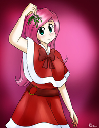 Size: 1063x1375 | Tagged: safe, artist:kprovido, fluttershy, human, clothes, dress, female, humanized, looking at you, mistletoe, solo