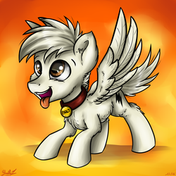 Size: 3024x3024 | Tagged: safe, artist:gaelledragons, oc, oc only, oc:bolt the super pony, pegasus, pony, behaving like a dog, bolt, collar, cute, diabetes, dog collar, pet tag, ponified, solo, spread wings, tongue out