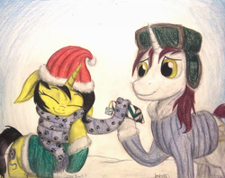 Size: 1316x1040 | Tagged: safe, artist:thefriendlyelephant, oc, oc only, oc:pauly sentry, oc:snowy do, pony, unicorn, box, clothes, coat, commission, cute, floppy ears, hat, paw prints, present, russian hat, santa hat, scarf, snow, snuggling, traditional art