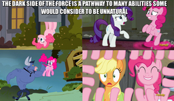Size: 834x486   Tagged: safe, edit, edited screencap, screencap, applejack, iron will, pinkie pie, rarity, a friend in deed, hearthbreakers, putting your hoof down, the saddle row review, bush, caption, emperor palpatine, image macro, in which pinkie pie forgets how to gravity, meme, pinkie being pinkie, pinkie physics, pinkiecopter, revenge of the sith, star wars, the force, tree, wat