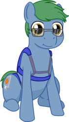 Size: 844x1500 | Tagged: safe, artist:phallen1, derpibooru exclusive, oc, oc only, oc:software patch, earth pony, pony, 2017 community collab, derpibooru community collaboration, glasses, harness, looking at you, simple background, sitting, smiling, solo, transparent background