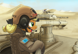 Size: 1024x707 | Tagged: safe, artist:buckweiser, applejack, rarity, earth pony, pony, unicorn, battlefield 3, clothes, crossover, desert, female, gloves, gun, headset, m1 abrams, mare, open mouth, solo, tank (vehicle), weapon
