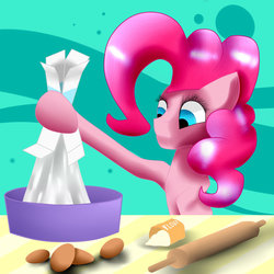 Size: 1024x1024   Tagged: safe, artist:scalestroke315, pinkie pie, baking, bowl, egg (food), female, flour, food, mixing bowl, rolling pin, solo