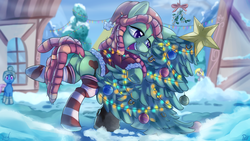 Size: 3000x1688 | Tagged: safe, artist:discorded, artist:pirill, derpy hooves, tree hugger, earth pony, pony, christmas, christmas lights, christmas tree, clothes, collaboration, costume, dock, dreadlocks, featureless crotch, frown, hat, hug, leaning, lidded eyes, literal, mistletoe, name pun, open mouth, raised hoof, santa costume, santa hat, scarf, smiling, snow, socks, solo focus, striped socks, tree, tree hugger hugging a tree, treebutt, underhoof, wide eyes, winter