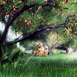 Size: 2600x2600 | Tagged: safe, artist:ruhisu, applejack, oc, oc:brave wing, apple tree, barn, broken wing, duo, filly, filly applejack, missing accessory, scenery, sweet apple acres, tree, younger