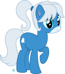 Size: 2096x2405 | Tagged: safe, artist:arifproject, oc, oc only, oc:notification, earth pony, pony, cutie mark, derpibooru ponified, looking at you, ponytail, raised hoof, simple background, solo, transparent background, vector