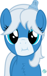 Size: 1406x2233 | Tagged: safe, artist:arifproject, oc, oc only, oc:notification, earth pony, pony, derpibooru, :i, adorable face, arif's scrunchy pone, chest fluff, cute, derpibooru ponified, female, hair ornament, looking at you, mare, meta, ocbetes, ponified, simple background, smiling, solo, transparent background, vector