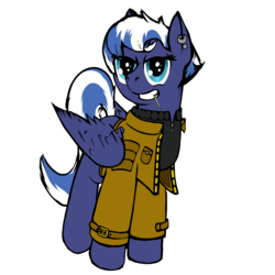 Size: 1550x1550 | Tagged: safe, artist:frecklesfanatic, oc, oc only, oc:night sky, pegasus, pony, 2017 community collab, derpibooru community collaboration, clothes, ear piercing, earring, jacket, jewelry, looking at you, piercing, simple background, solo, toothpick, transparent background