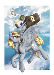 Size: 1024x1418   Tagged: safe, artist:mranonim, derpy hooves, pegasus, pony, female, flying, letter, mailbag, mailmare, mare, solo