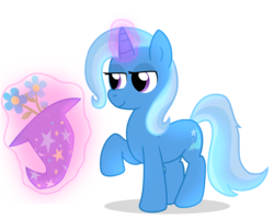 Size: 2500x2000 | Tagged: artist:saveraedae, female, flower, levitation, lidded eyes, magic, magic trick, mare, pony, raised hoof, safe, shadow, simple background, smiling, solo, telekinesis, transparent background, trixie, trixie's hat, unicorn