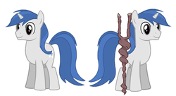 Size: 1524x830 | Tagged: safe, artist:dashiemlpfim, oc, oc only, pony, unicorn, simple background, solo, staff, staff of sameness, white background