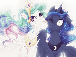 Size: 1280x960 | Tagged: artist:sugarberry, cute, cutelestia, duo, duo female, eye clipping through hair, female, floppy ears, licking, one eye closed, pony, princess celestia, princess luna, royal sisters, safe, sillestia, silly, silly pony, sisters, smiling, spread wings, surprised, tongue out, wide eyes, wing fluff