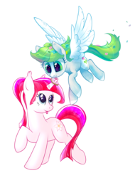 Size: 3128x4120 | Tagged: 2017 community collab, absurd res, artist:haltie, artist:ratiasuq, derpibooru community collaboration, donut, duo, duo female, female, flower, flower in hair, flying, food, foodplay, heart eyes, horn grab, licking, messy mane, oc, oc only, :p, pegasus, pony, raised hoof, raised leg, safe, simple background, smiling, spread wings, tongue out, transparent background, unicorn, wingding eyes