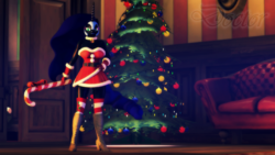 Size: 1280x720   Tagged: safe, artist:doctorthei, nightmare moon, anthro, plantigrade anthro, 3d, bell, bell collar, breasts, busty nightmare moon, candy, candy cane, christmas tree, clothes, collar, couch, dress, female, food, high heel boots, high heels, looking at you, socks, solo, source filmmaker, striped socks, tree, wingless, wingless anthro