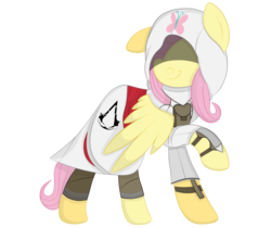 Size: 1024x862   Tagged: safe, artist:squipycheetah, fluttershy, pegasus, pony, assassin, assassin's creed, assassinshy, clothes, crossover, cute, disguise, female, floppy ears, flutterassassin, hidden blade, hidden eyes, looking back, mare, raised hoof, robe, shyabetes, solo, spread wings