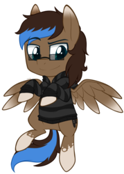 Size: 667x930 | Tagged: safe, artist:higgly-chan, oc, oc only, oc:playthrough, pegasus, pony, clothes, cute, flying, glasses, hoodie, looking down, male, raised eyebrow, smiling, sneaky, solo, spread wings, stallion