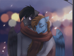 Size: 2560x1960 | Tagged: safe, artist:orfartina, oc, oc only, pegasus, pony, clothes, male, scarf, shared clothing, shared scarf, stallion