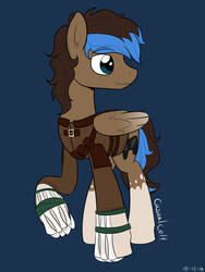 Size: 1200x1600 | Tagged: safe, artist:casualcolt, oc, oc only, oc:playthrough, pegasus, pony, adventure, bone, controller, leather armor, looking away, male, smiling, solo, stallion, straps