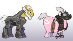 Size: 1280x724 | Tagged: safe, artist:calicopikachu, earth pony, pony, armor, beard, duo, eyes on the prize, facial hair, gradient background, gray background, overwatch, ponified, power armor, reinhardt, roadhog (overwatch), simple background, video game