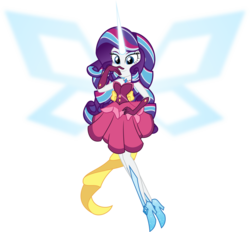 Size: 6000x5577 | Tagged: safe, artist:orin331, rarity, equestria girls, friendship games, absurd resolution, alternate universe, clothes, daydream-ified, dress, eyeshadow, female, floating, glowing horn, high heels, looking at you, makeup, simple background, sleeveless, smiling, solo, strapless, transparent background, updated, vector