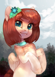 Size: 2500x3500   Tagged: safe, artist:share dast, oc, oc only, oc:tea flower, pegasus, pony, bust, chest fluff, choker, commission, cute, female, flower, flower in hair, freckles, hairband, heart eyes, jewelry, looking at you, mare, portrait, rearing, scenery, semi-realistic, solo, unshorn fetlocks, wingding eyes