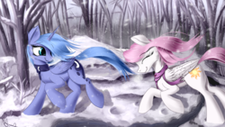 Size: 1920x1080 | Tagged: safe, artist:aurelleah, princess celestia, princess luna, alicorn, pony, clothes, cute, cutelestia, eyes closed, female, forest, looking away, lunabetes, pink-mane celestia, river, royal sisters, running, s1 luna, scarf, shadow, signature, smiling, snow, snowfall, stream, tree, updated, water, winter, young, younger