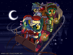 Size: 800x600 | Tagged: artist:rangelost, canterlot, canterlot castle, christmas, clothes, compass, contrail, costume, earth pony, elf hat, glasses, group, hat, headband, heart, hearth's warming eve, holly, lantern, lilycast, map, moon, mrs. claus costume, night, oc, oc:mindful mythos, oc only, oc:rekhet, oc:sentinel shield, oc:snowy silvercast, oc:sunrise lily, pegasus, pixel art, pony, present, reindeer antlers, reins, sack, safe, santa costume, santa sack, scarf, sleigh, snow, socks, stars, striped socks, unicorn