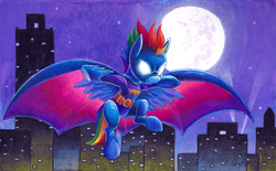 Size: 1200x745 | Tagged: safe, artist:tsitra360, rainbow dash, batman, batmare, city, commission, crossover, dc comics, female, glowing eyes, mare in the moon, moon, sky, solo, spread wings, stars, superhero, traditional art