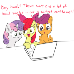 Size: 1000x1000 | Tagged: safe, artist:yakoshi, apple bloom, scootaloo, sweetie belle, 30 minute art challenge, :o, :t, computer, cutie mark crusaders, internet, laptop computer, open mouth, smiling, wide eyes