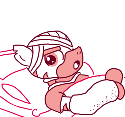 Size: 640x600 | Tagged: safe, artist:ficficponyfic, oc, oc only, zebra, colt quest, adult, bandage, cast, gurney, hospital, injured, male, monochrome, pillow, solo, stallion, story included, upset