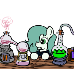 Size: 640x600 | Tagged: safe, artist:ficficponyfic, color edit, edit, oc, oc only, oc:emerald jewel, earth pony, pony, colt quest, alchemy, bandana, boiling water, chemicals, chemistry, child, color, colored, colt, cork, flask, florence flask, fluids, foal, hair over one eye, male, monochrome, solo, steam, table, tube