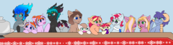 Size: 4096x1087 | Tagged: safe, artist:jolliapplegirl, oc, oc only, oc:acheron, oc:chocolate cheesecake, oc:finesse, oc:honey brie, oc:illusive spark, oc:lapis hondo lazuli, oc:olive branch, oc:stardust, oc:sun flare, dracony, earth pony, hybrid, pony, unicorn, absurd resolution, adopted offspring, changeling oc, interspecies offspring, magical gay spawn, next generation, offspring, parent:amber leaf, parent:applejack, parent:big macintosh, parent:cheerilee, parent:cheese sandwich, parent:flam, parent:flim, parent:fluttershy, parent:king sombra, parent:lord tirek, parent:photo finish, parent:pinkie pie, parent:rarity, parent:spike, parent:starlight glimmer, parent:sunburst, parent:thorax, parent:unnamed oc, parents:canon x oc, parents:cheerimac, parents:cheesepie, parents:flamfinish, parents:flimjack, parents:starburst, parents:thoraxspike