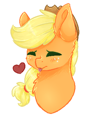 Size: 312x407 | Tagged: safe, artist:twinkepaint, applejack, pony, bust, chest fluff, eyes closed, female, heart, portrait, silly, silly pony, simple background, solo, tongue out, white background, who's a silly pony