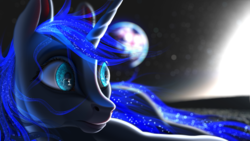 Size: 5760x3240 | Tagged: absurd res, artist:autello, earth, eye reflection, glow, glowing mane, moon, princess luna, reflection, safe, solo, space, stars, subsurface scattering