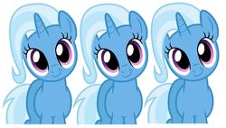 Size: 968x550 | Tagged: safe, trixie, pony, unicorn, cute, diatrixes, female, mare, multeity, simple background, triality, trixie army, white background