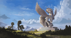 Size: 1850x1000 | Tagged: alicorn, artist:shamanguli, cloud, female, grass, looking up, mare, open mouth, pony, princess celestia, rearing, safe, scenery, sky, spread wings, statue, tree